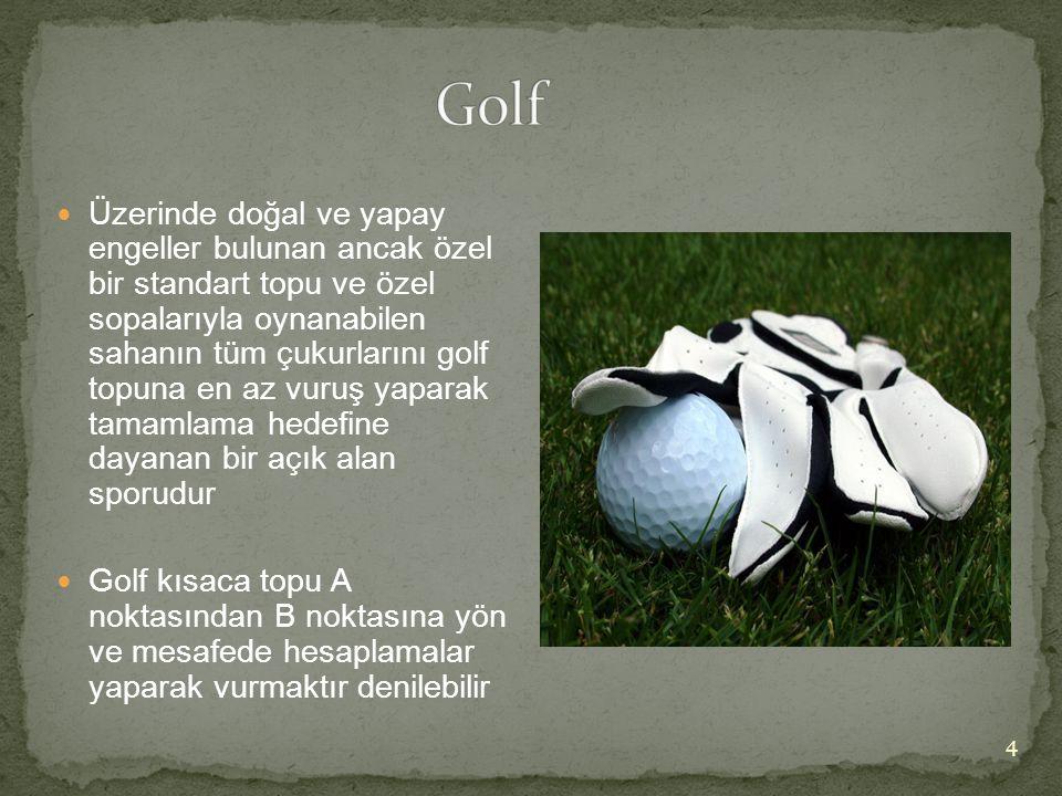 Üzerinde doğal ve yapay engeller bulunan ancak özel bir standart topu ve özel sopalarıyla oynanabilen sahanın tüm çukurlarını golf topuna en az vuru