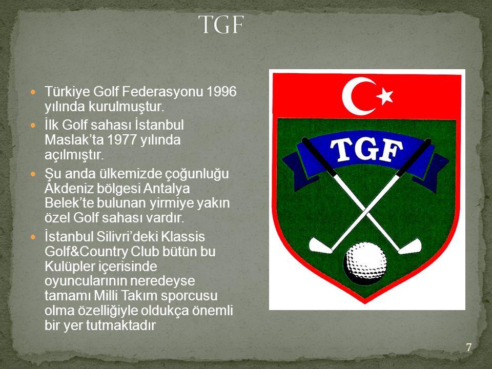  Türkiye Golf Federasyonu 1996 yılında kurulmuştur.  İlk Golf sahası İstanbul Maslak'ta 1977 yılında açılmıştır.  Şu anda ülkemizde çoğunluğu Akden