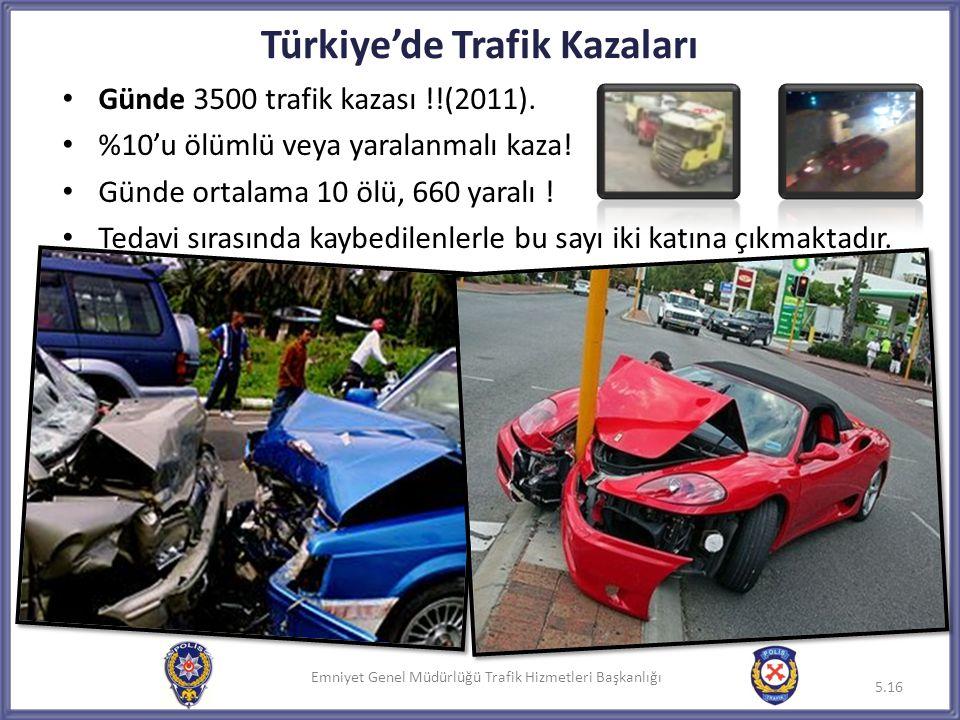 Emniyet Genel Müdürlüğü Trafik Hizmetleri Başkanlığı Türkiye'de Trafik Kazaları • Günde 3500 trafik kazası !!(2011). • %10'u ölümlü veya yaralanmalı k