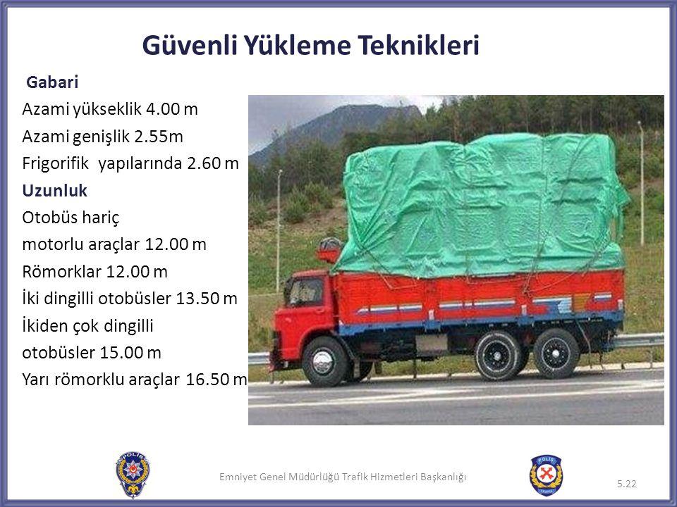 Emniyet Genel Müdürlüğü Trafik Hizmetleri Başkanlığı Güvenli Yükleme Teknikleri Gabari Azami yükseklik 4.00 m Azami genişlik 2.55m Frigorifik yapıları