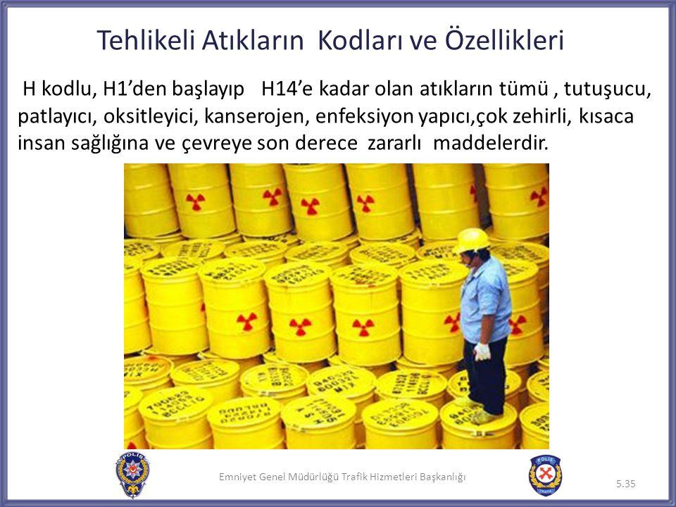 Emniyet Genel Müdürlüğü Trafik Hizmetleri Başkanlığı Tehlikeli Atıkların Kodları ve Özellikleri H kodlu, H1'den başlayıp H14'e kadar olan atıkların tü