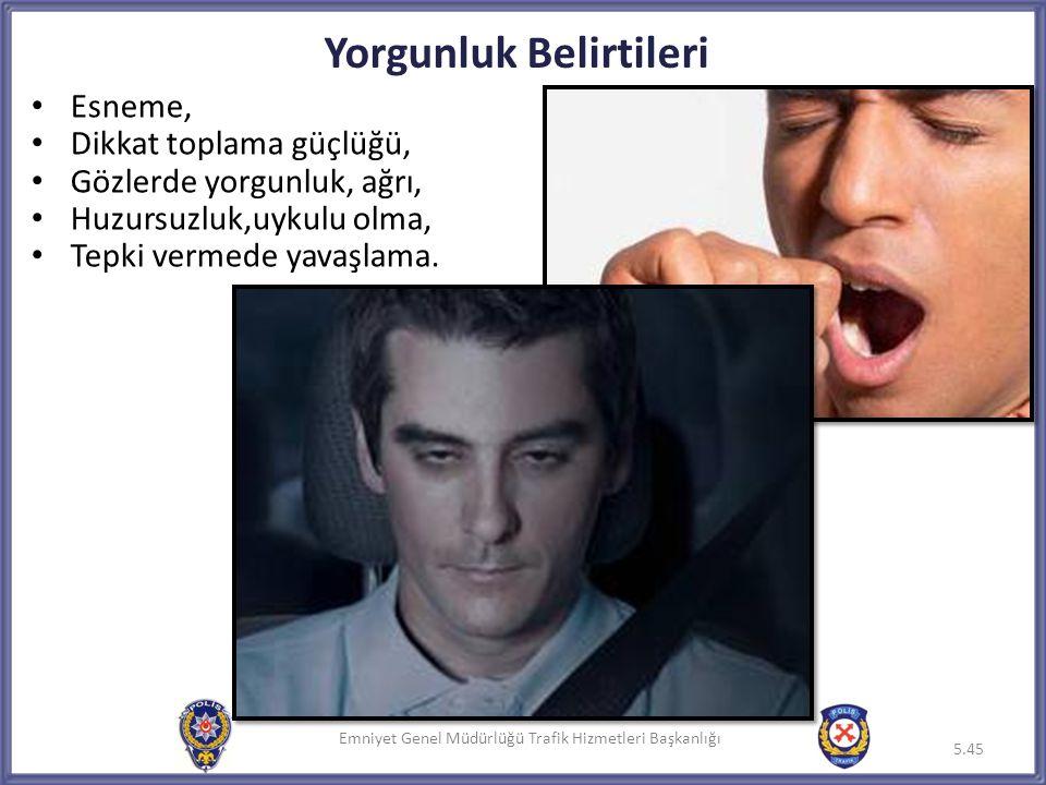 Emniyet Genel Müdürlüğü Trafik Hizmetleri Başkanlığı Yorgunluk Belirtileri 5.45 Emniyet Genel Müdürlüğü Trafik Hizmetleri Başkanlığı5.45 • Esneme, • D