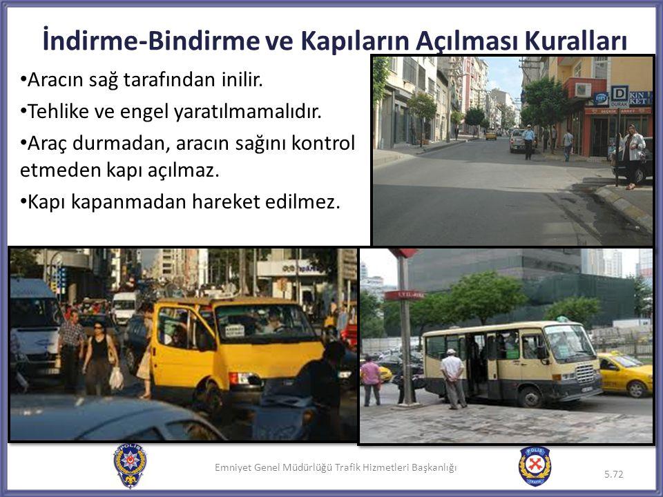 Emniyet Genel Müdürlüğü Trafik Hizmetleri Başkanlığı • Aracın sağ tarafından inilir. • Tehlike ve engel yaratılmamalıdır. • Araç durmadan, aracın sağı
