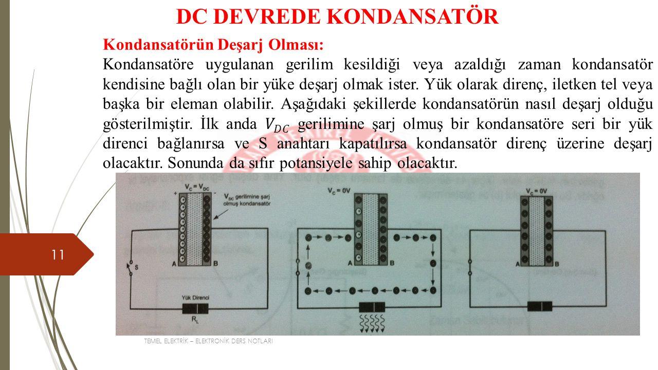 TEMEL ELEKTRİK – ELEKTRONİK DERS NOTLARI 11 DC DEVREDE KONDANSATÖR