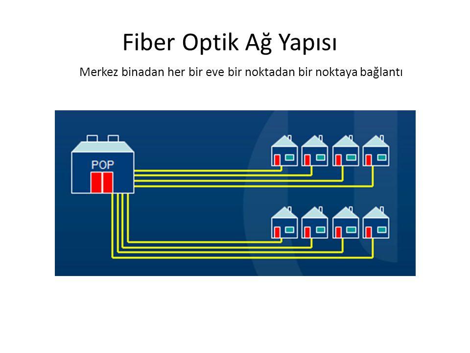 Fiber Optik Ağ Yapısı Merkez binadan her bir eve bir noktadan bir noktaya bağlantı