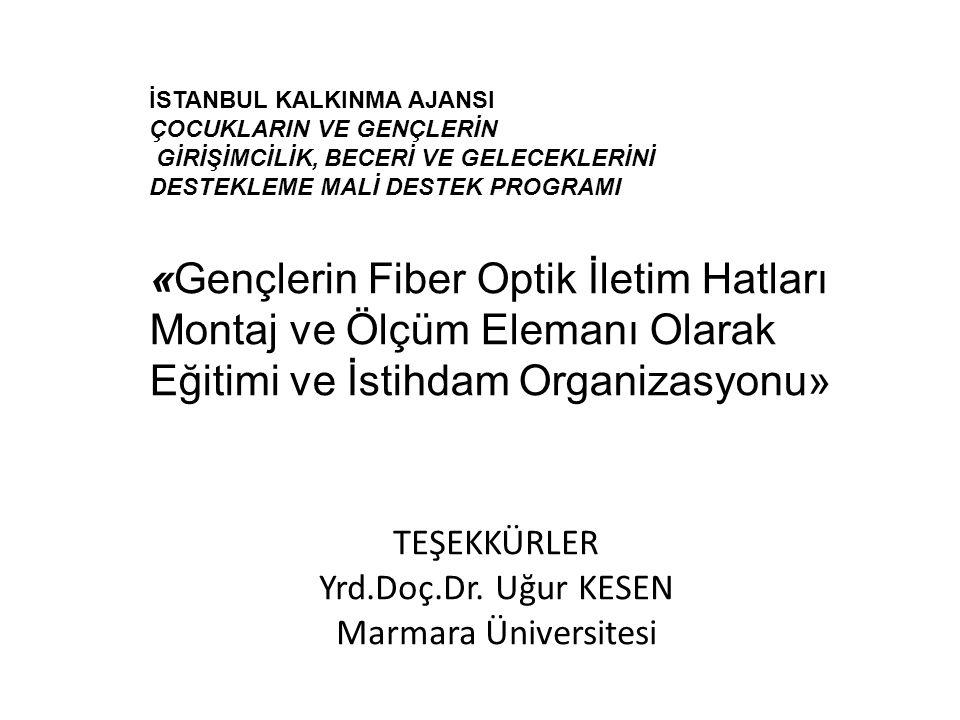 TEŞEKKÜRLER Yrd.Doç.Dr. Uğur KESEN Marmara Üniversitesi İSTANBUL KALKINMA AJANSI ÇOCUKLARIN VE GENÇLERİN GİRİŞİMCİLİK, BECERİ VE GELECEKLERİNİ DESTEKL