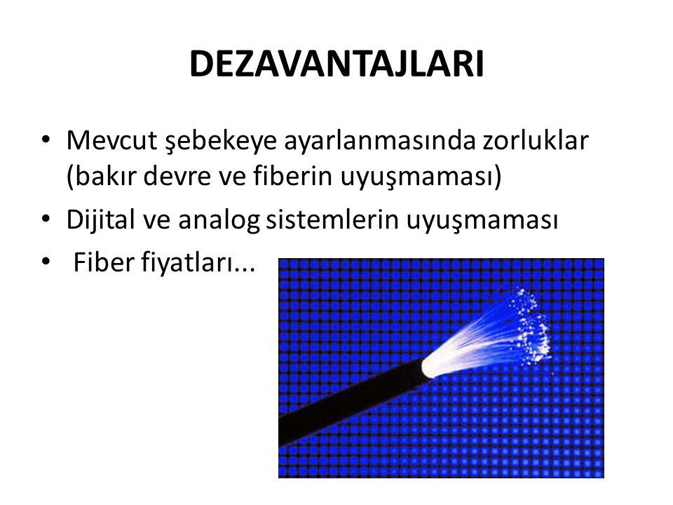 DEZAVANTAJLARI • Mevcut şebekeye ayarlanmasında zorluklar (bakır devre ve fiberin uyuşmaması) • Dijital ve analog sistemlerin uyuşmaması • Fiber fiyat