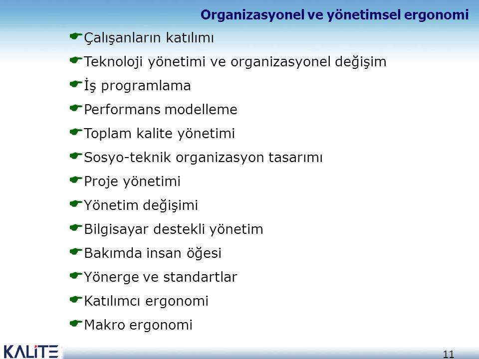 11  Çalışanların katılımı  Teknoloji yönetimi ve organizasyonel değişim  İş programlama  Performans modelleme  Toplam kalite yönetimi  Sosyo-tek