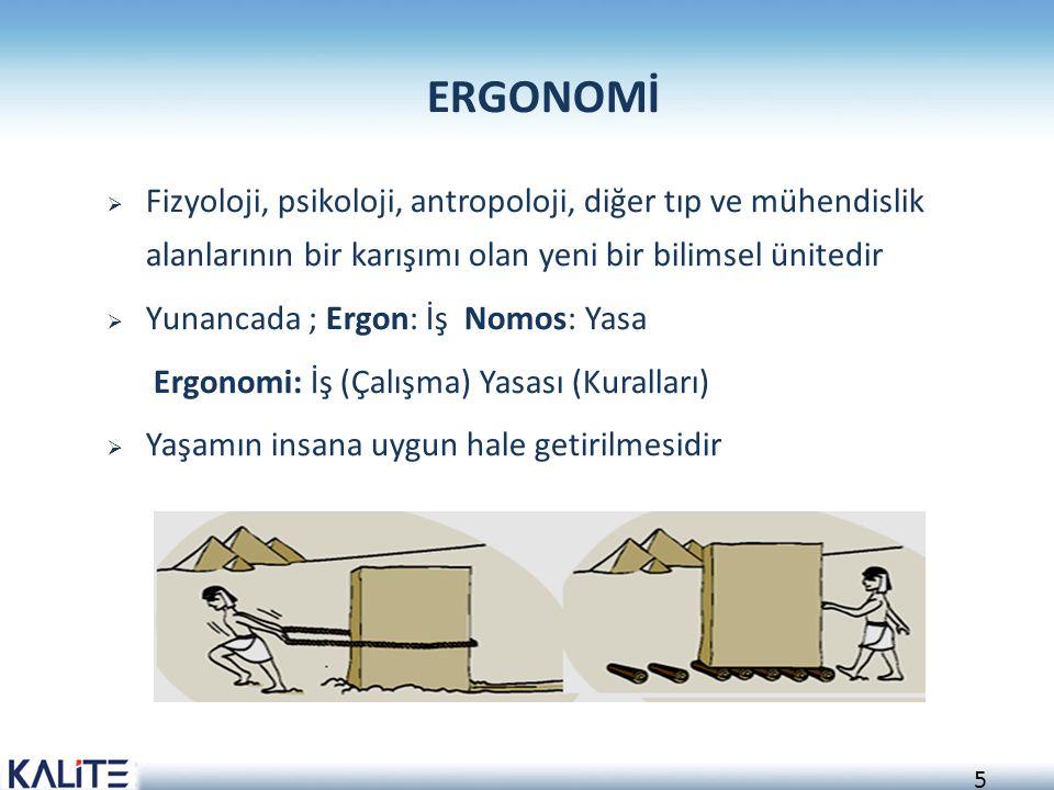 5 ERGONOMİ  Fizyoloji, psikoloji, antropoloji, diğer tıp ve mühendislik alanlarının bir karışımı olan yeni bir bilimsel ünitedir  Yunancada ; Ergon: