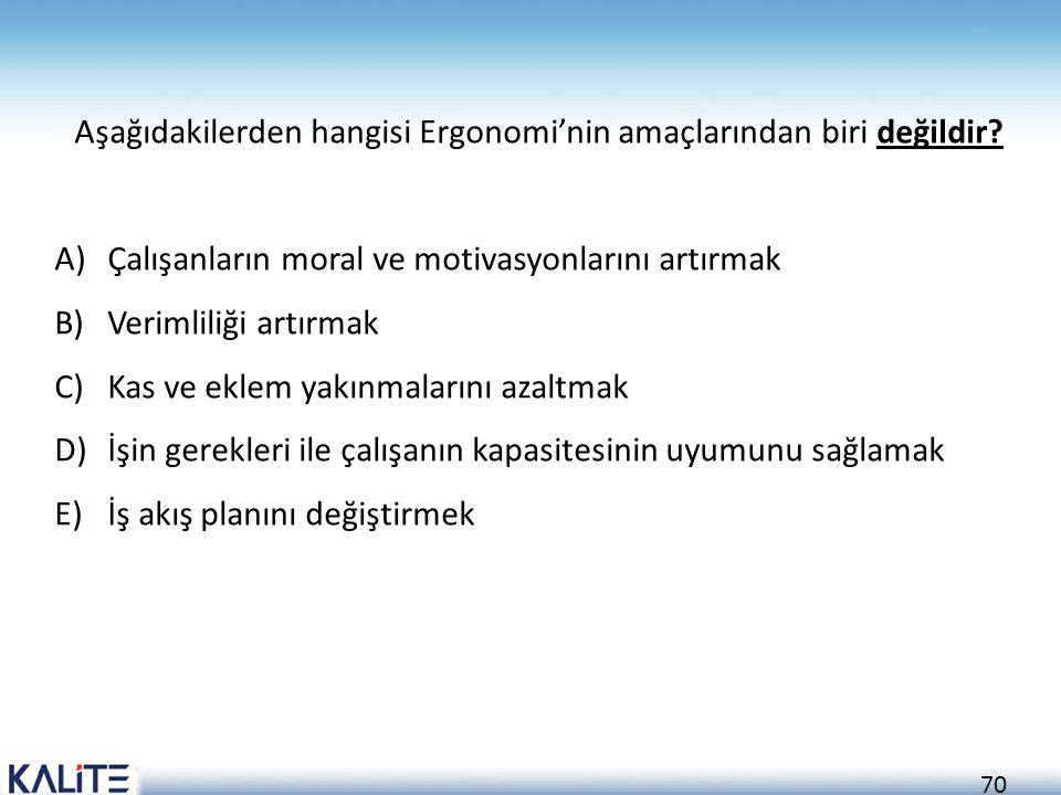 70 Aşağıdakilerden hangisi Ergonomi'nin amaçlarından biri değildir? A)Çalışanların moral ve motivasyonlarını artırmak B)Verimliliği artırmak C)Kas ve