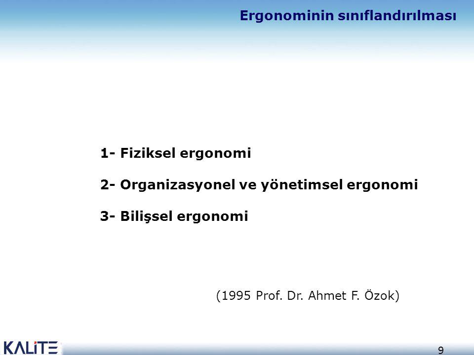 9 1- Fiziksel ergonomi 2- Organizasyonel ve yönetimsel ergonomi 3- Bilişsel ergonomi Ergonominin sınıflandırılması (1995 Prof. Dr. Ahmet F. Özok)