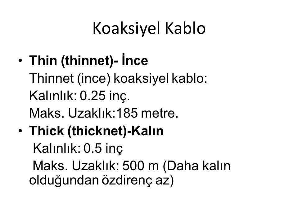 Koaksiyel Kablo •Thin (thinnet)- İnce Thinnet (ince) koaksiyel kablo: Kalınlık: 0.25 inç. Maks. Uzaklık:185 metre. •Thick (thicknet)-Kalın Kalınlık: 0