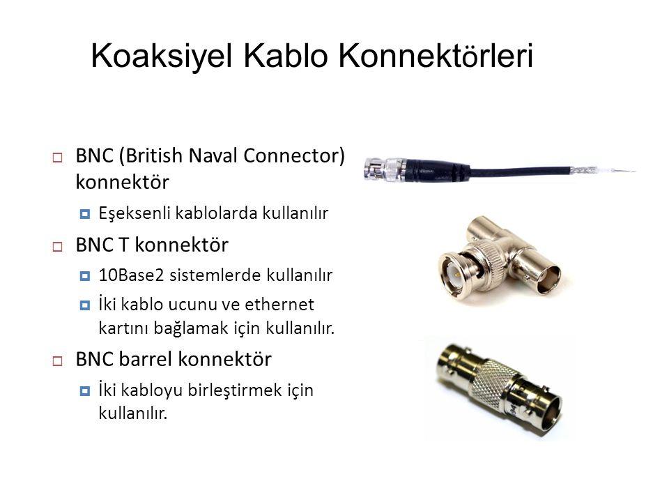 Koaksiyel Kablo Konnekt ö rleri  BNC (British Naval Connector) konnektör  Eşeksenli kablolarda kullanılır  BNC T konnektör  10Base2 sistemlerde ku