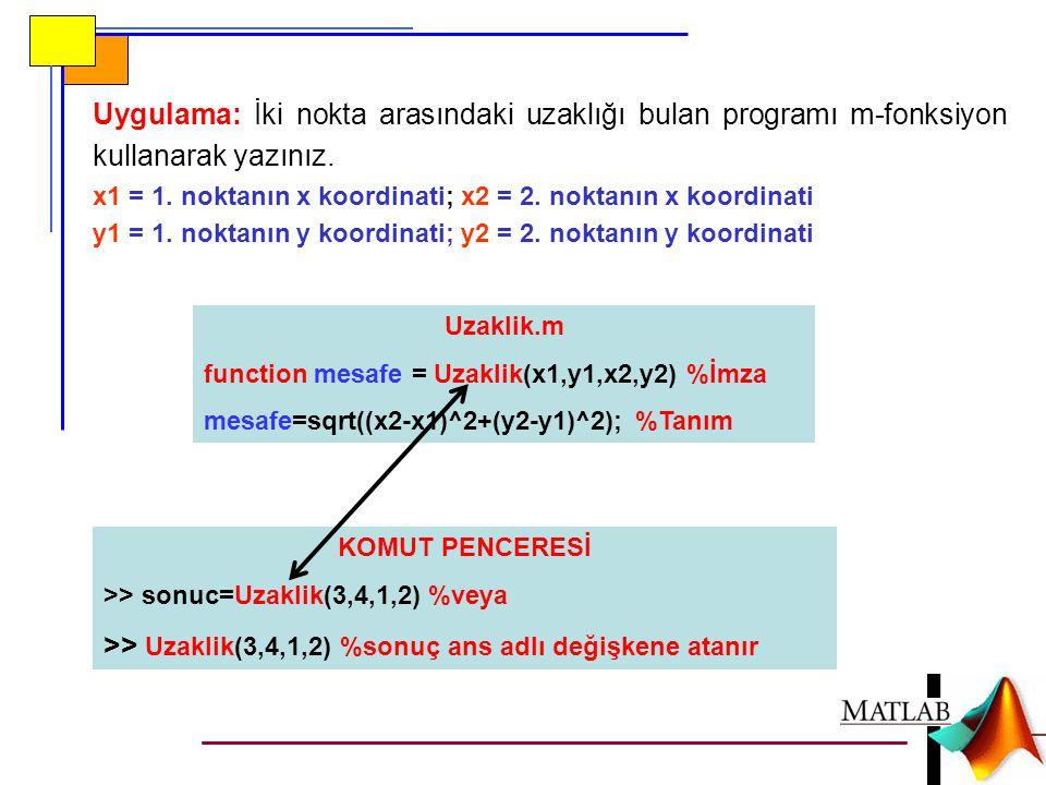 Uygulama: İki nokta arasındaki uzaklığı bulan programı m-fonksiyon kullanarak yazınız. x1 = 1. noktanın x koordinati; x2 = 2. noktanın x koordinati y1