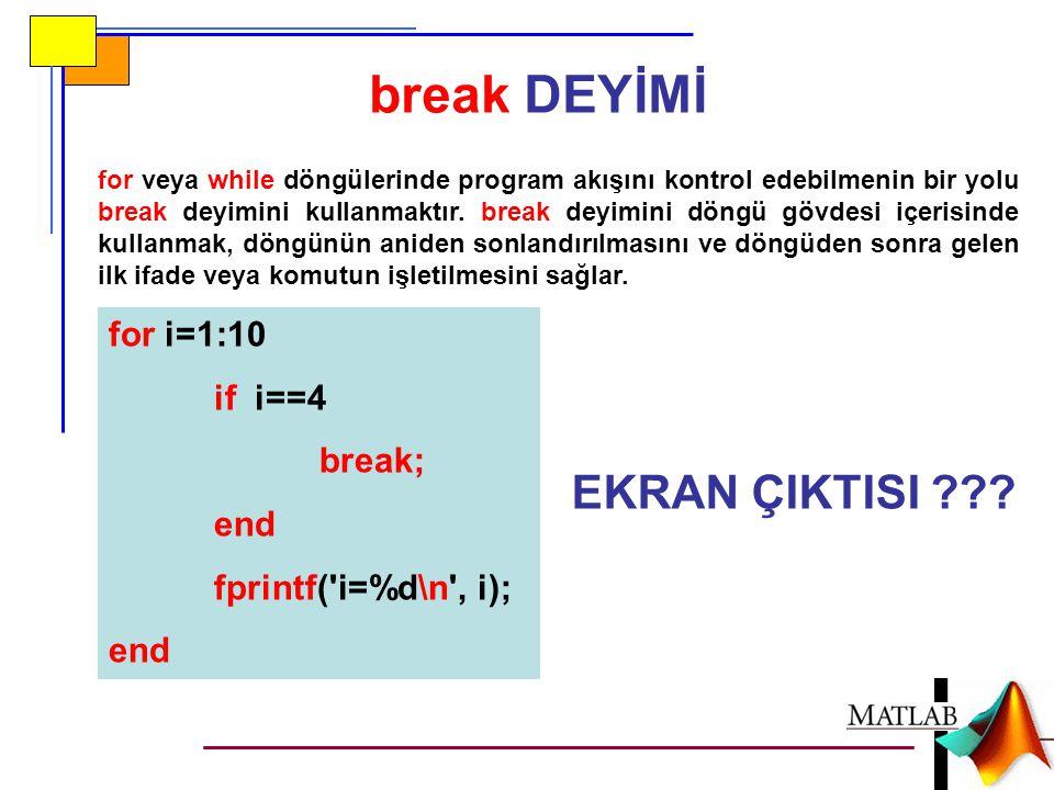 break DEYİMİ for veya while döngülerinde program akışını kontrol edebilmenin bir yolu break deyimini kullanmaktır. break deyimini döngü gövdesi içeris