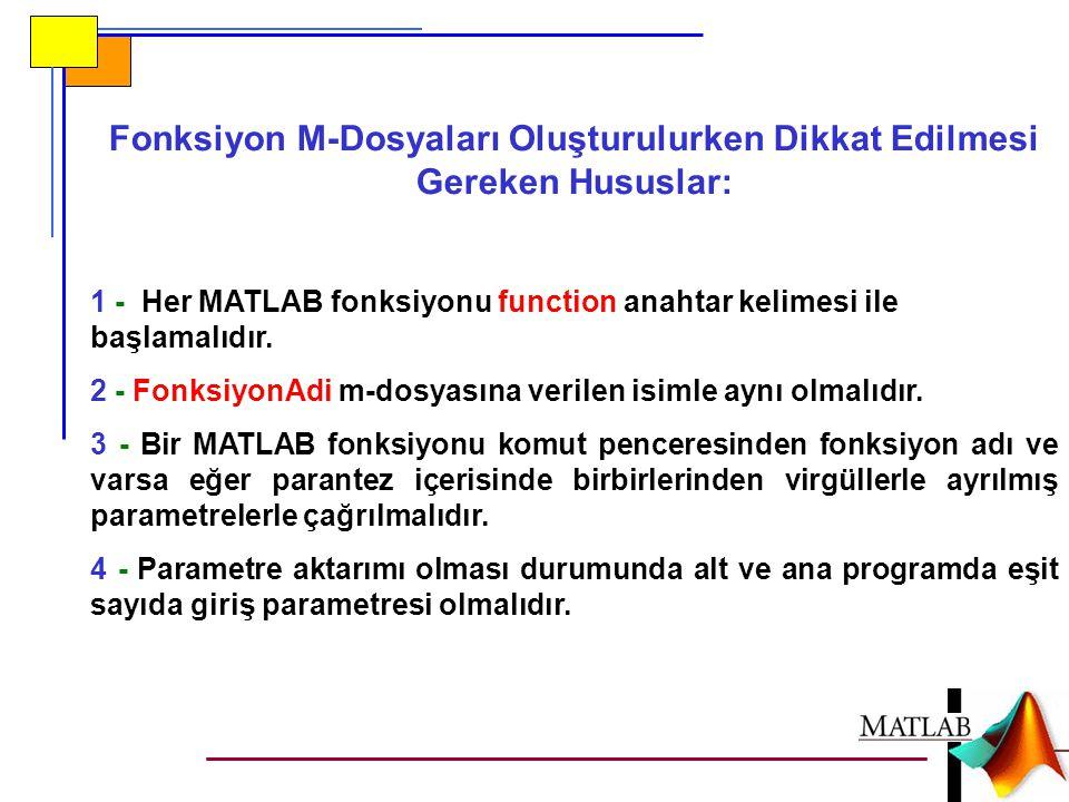 Fonksiyon M-Dosyaları Oluşturulurken Dikkat Edilmesi Gereken Hususlar: 1 - Her MATLAB fonksiyonu function anahtar kelimesi ile başlamalıdır. 2 - Fonks