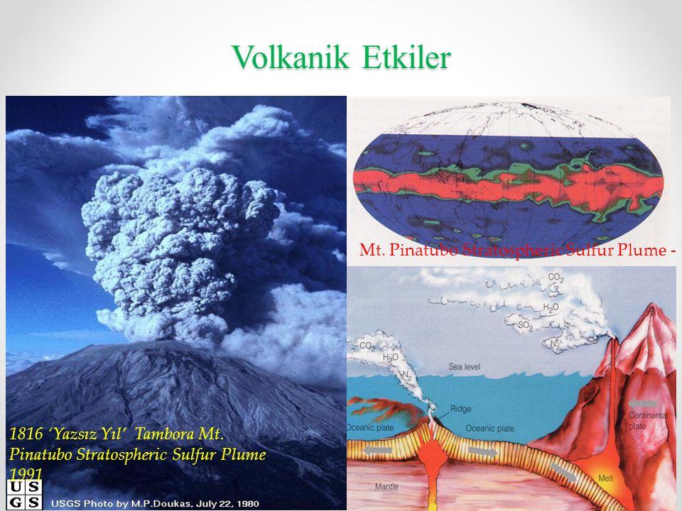 Volkanik Etkiler Mt. Pinatubo Stratospheric Sulfur Plume - 1991 1816 'Yazsız Yıl' Tambora Mt. Pinatubo Stratospheric Sulfur Plume 1991