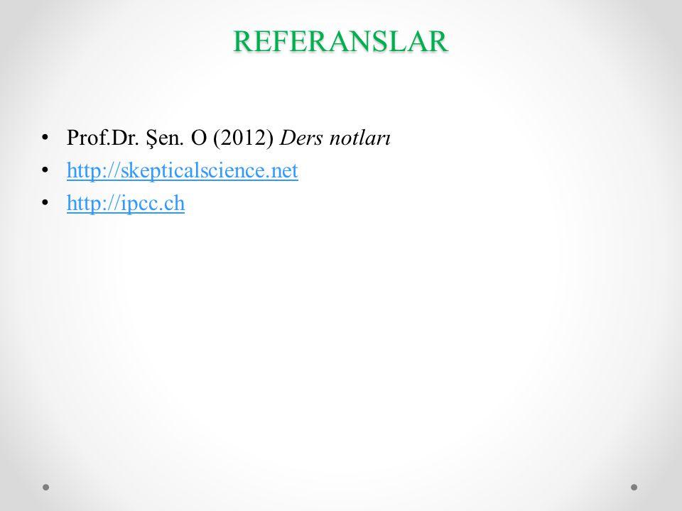 REFERANSLAR • Prof.Dr. Şen. O (2012) Ders notları • http://skepticalscience.net http://skepticalscience.net • http://ipcc.ch http://ipcc.ch