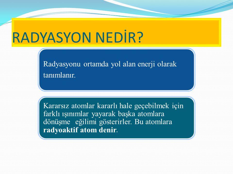 RADYASYON TÜRLERİ Parçacık radyasyonu ; Belli bir kütle ve enerjiye sahip çok hızlı hareket eden minik parçacıkları ifade eder.