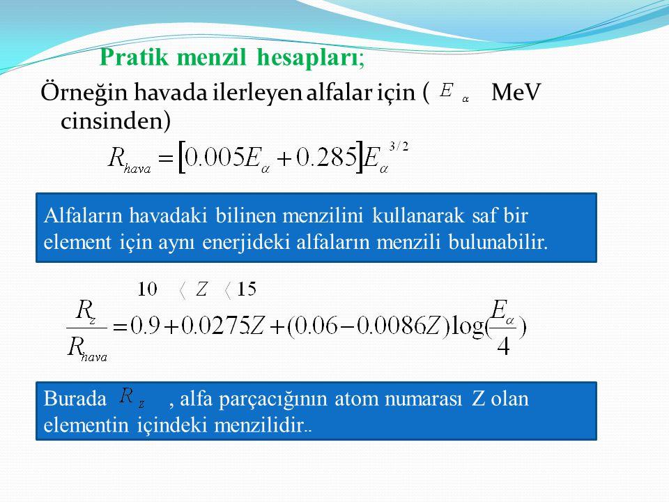 Pratik menzil hesapları; Örneğin havada ilerleyen alfalar için ( MeV cinsinden) Alfaların havadaki bilinen menzilini kullanarak saf bir element için a