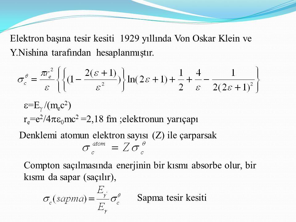 Elektron başına tesir kesiti 1929 yıllında Von Oskar Klein ve Y.Nishina tarafından hesaplanmıştır.  =E  /(m e c 2 ) r e =e 2 /4  0 mc 2 =2,18 fm ;