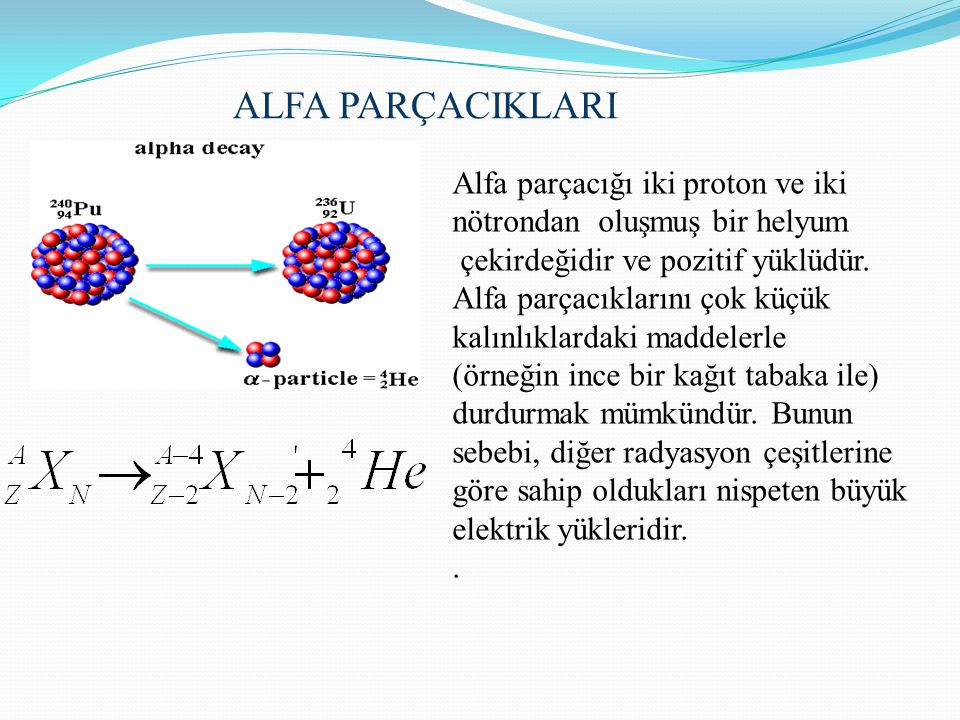 ALFA PARÇACIKLARI Alfa parçacığı iki proton ve iki nötrondan oluşmuş bir helyum çekirdeğidir ve pozitif yüklüdür. Αlfa parçacıklarını çok küçük kalınl