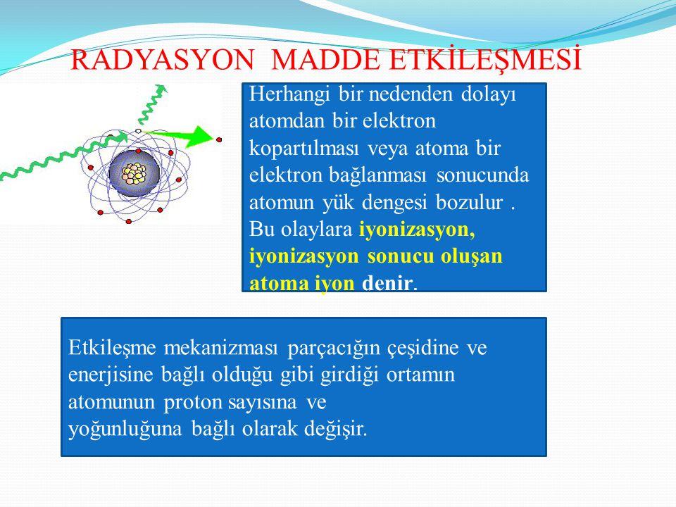 RADYASYON MADDE ETKİLEŞMESİ Herhangi bir nedenden dolayı atomdan bir elektron kopartılması veya atoma bir elektron bağlanması sonucunda atomun yük den