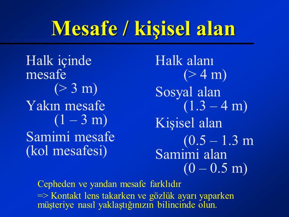 Mesafe / kişisel alan Halk içinde mesafe (> 3 m) Yakın mesafe (1 – 3 m) Samimi mesafe (kol mesafesi) Halk alanı (> 4 m) Sosyal alan (1.3 – 4 m) Kişise