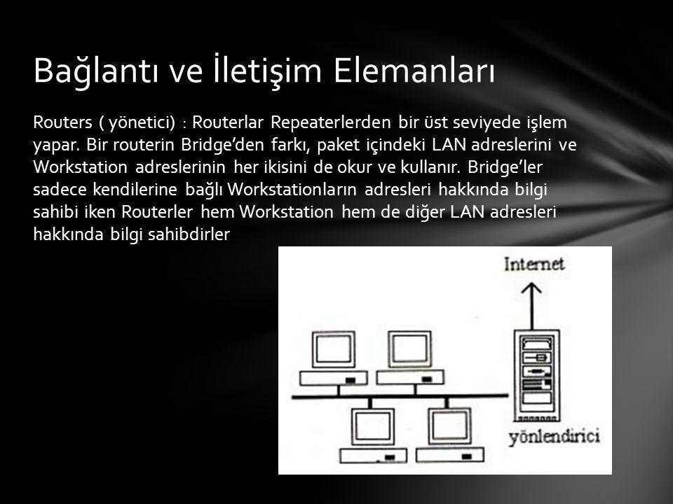Routers ( yönetici) : Routerlar Repeaterlerden bir üst seviyede işlem yapar. Bir routerin Bridge'den farkı, paket içindeki LAN adreslerini ve Workstat
