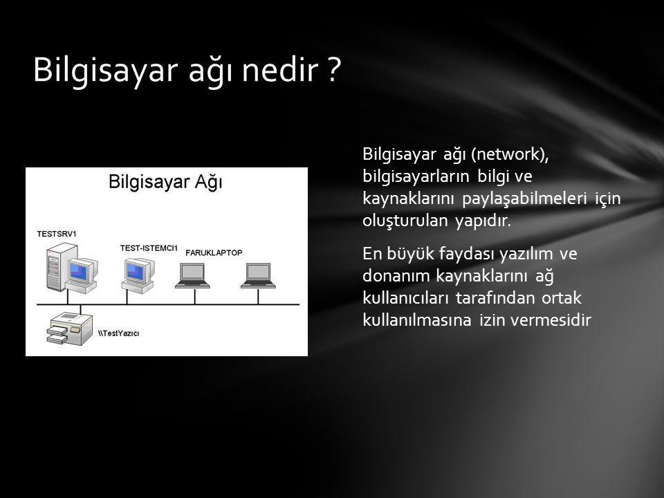 Bilgisayar ağı (network), bilgisayarların bilgi ve kaynaklarını paylaşabilmeleri için oluşturulan yapıdır. En büyük faydası yazılım ve donanım kaynakl