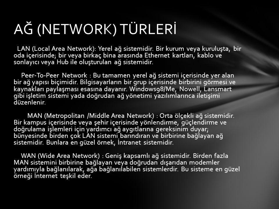 Ethernet : (Network Interface Card - NIC) : Yerel ağların oluşturulmasında veri alışverişini yöneten ve gerçekleştiren elemanlardır.