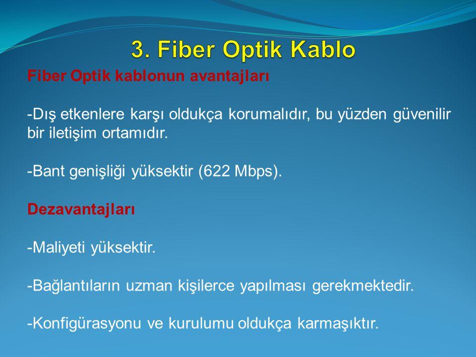 Fiber Optik kablonun avantajları -Dış etkenlere karşı oldukça korumalıdır, bu yüzden güvenilir bir iletişim ortamıdır. -Bant genişliği yüksektir (622