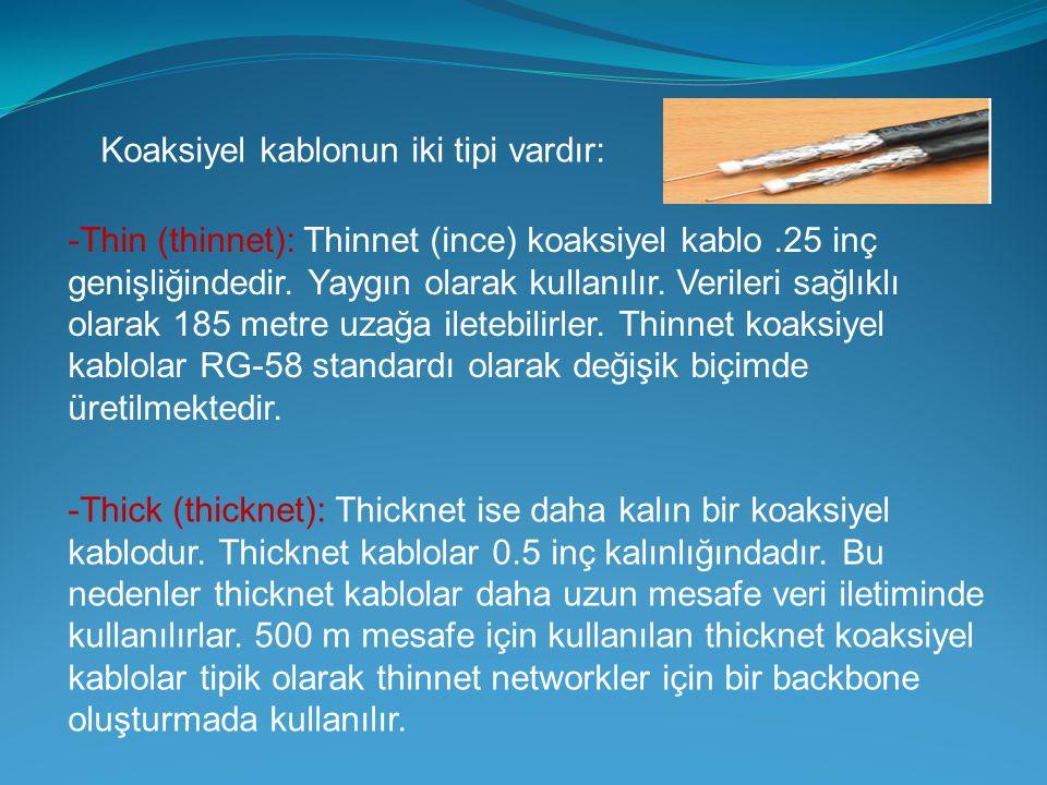 Koaksiyel kablonun iki tipi vardır: -Thin (thinnet): Thinnet (ince) koaksiyel kablo.25 inç genişliğindedir. Yaygın olarak kullanılır. Verileri sağlıkl