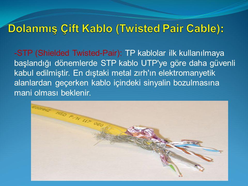-STP (Shielded Twisted-Pair): TP kablolar ilk kullanılmaya başlandığı dönemlerde STP kablo UTP'ye göre daha güvenli kabul edilmiştir. En dıştaki metal
