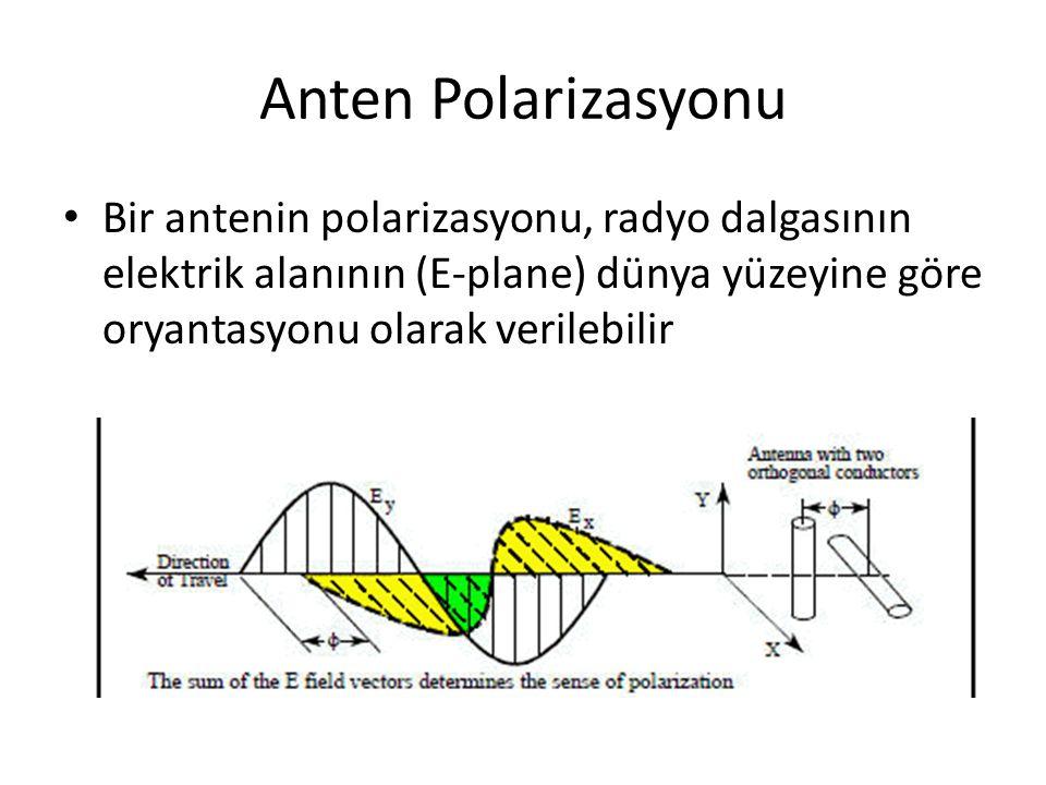 Anten Polarizasyonu • Bir antenin polarizasyonu, radyo dalgasının elektrik alanının (E-plane) dünya yüzeyine göre oryantasyonu olarak verilebilir