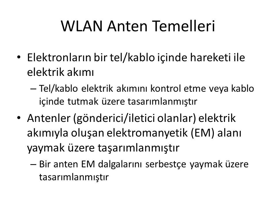 WLAN Anten Temelleri • Elektronların bir tel/kablo içinde hareketi ile elektrik akımı – Tel/kablo elektrik akımını kontrol etme veya kablo içinde tutm