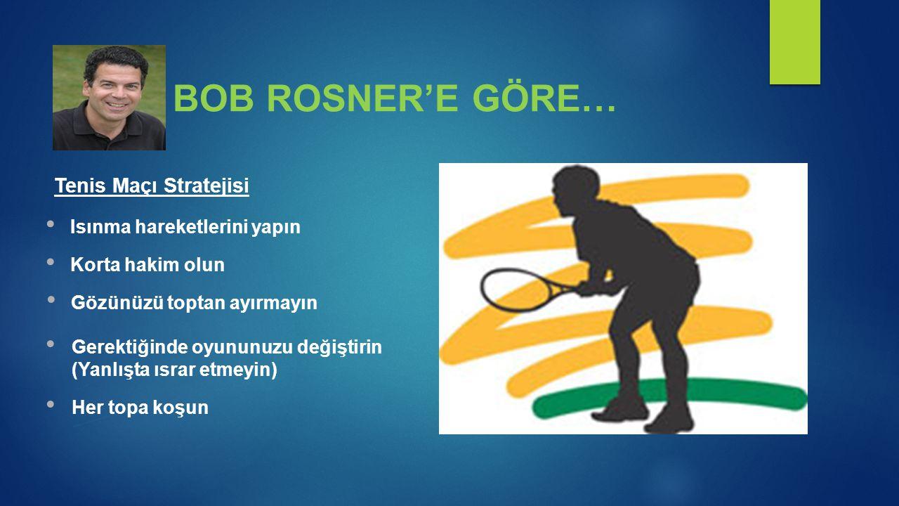 Tenis Maçı Stratejisi BOB ROSNER'E GÖRE… • Isınma hareketlerini yapın • Korta hakim olun • Gözünüzü toptan ayırmayın • Gerektiğinde oyununuzu değiştir