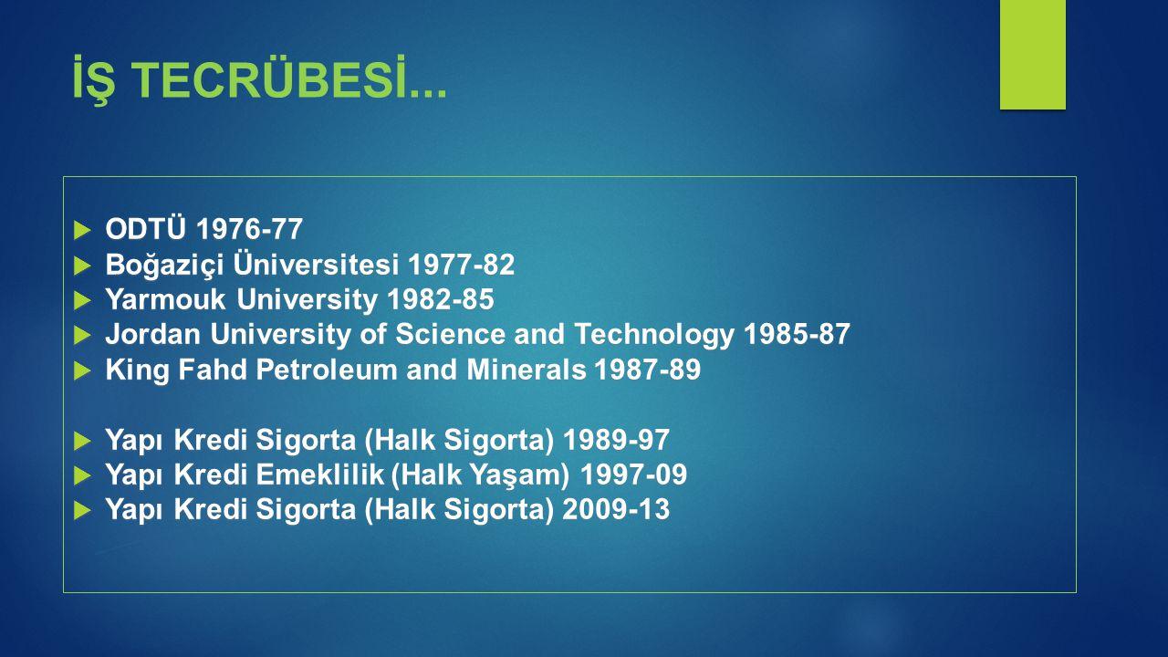  ODTÜ 1976-77  Boğaziçi Üniversitesi 1977-82  Yarmouk University 1982-85  Jordan University of Science and Technology 1985-87  King Fahd Petroleu