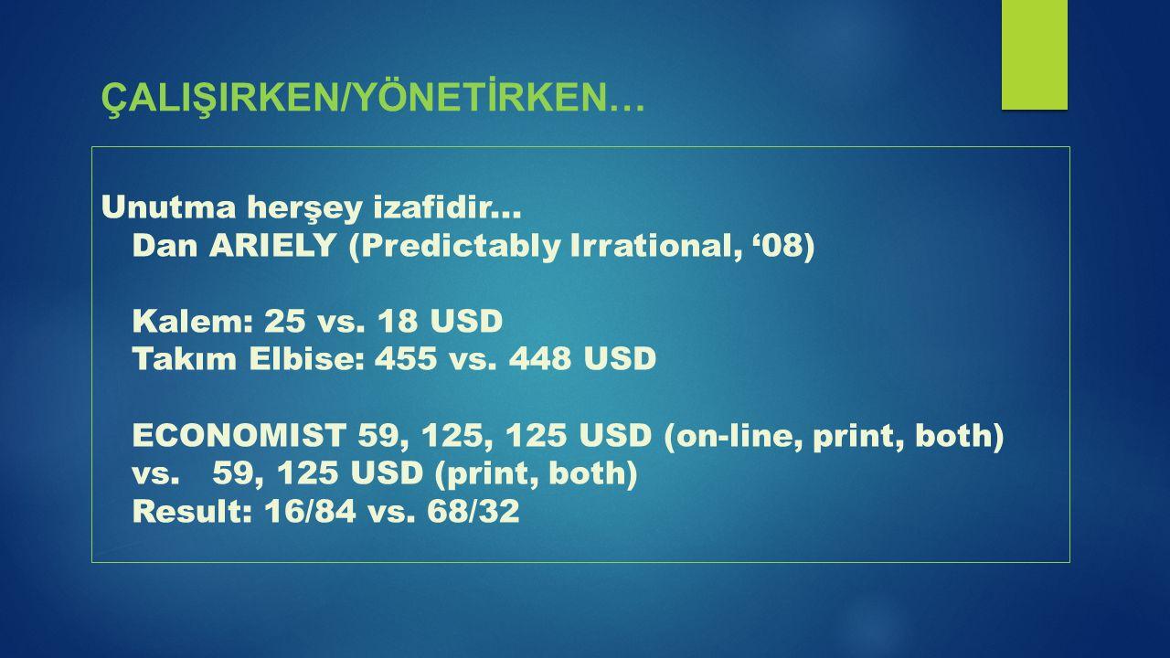 Unutma herşey izafidir... Dan ARIELY (Predictably Irrational, '08) Kalem: 25 vs. 18 USD Takım Elbise: 455 vs. 448 USD ECONOMIST 59, 125, 125 USD (on-l