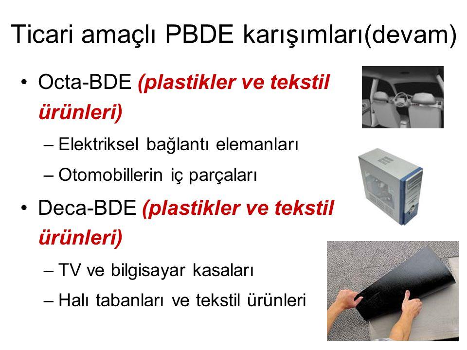 Ticari amaçlı PBDE karışımları (devam) •Octa-BDE (plastikler ve tekstil ürünleri) –Elektriksel bağlantı elemanları –Otomobillerin iç parçaları •Deca-B