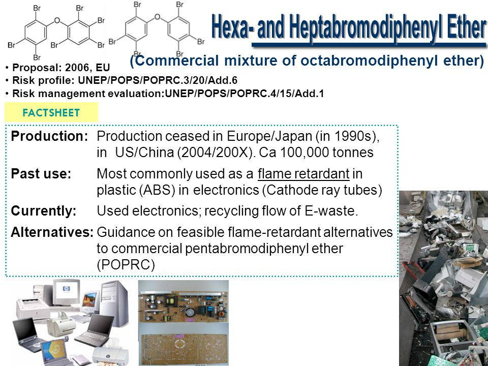 (Commercial mixture of octabromodiphenyl ether) FACTSHEET • Proposal: 2006, EU • Risk profile: UNEP/POPS/POPRC.3/20/Add.6 • Risk management evaluation