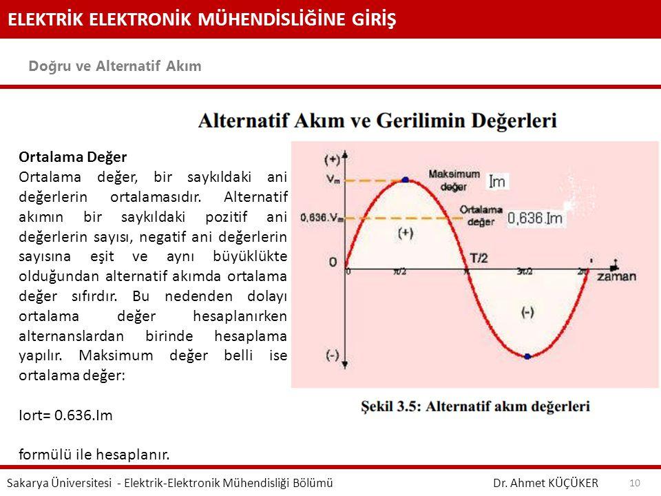 ELEKTRİK ELEKTRONİK MÜHENDİSLİĞİNE GİRİŞ Doğru ve Alternatif Akım Dr. Ahmet KÜÇÜKER Sakarya Üniversitesi - Elektrik-Elektronik Mühendisliği Bölümü 10