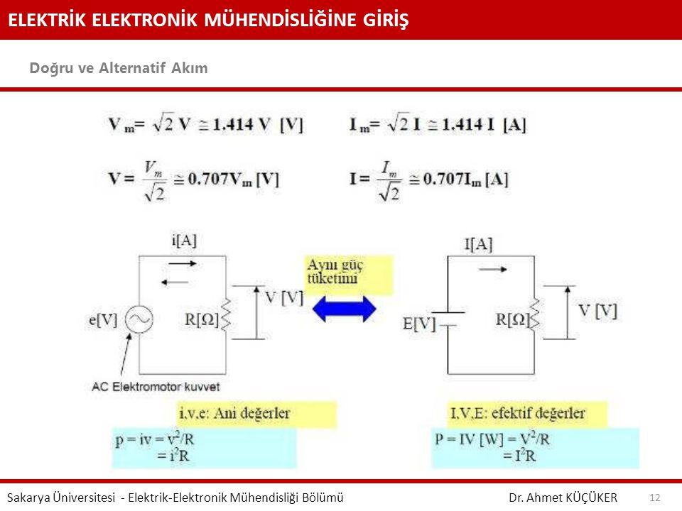 ELEKTRİK ELEKTRONİK MÜHENDİSLİĞİNE GİRİŞ Doğru ve Alternatif Akım Dr. Ahmet KÜÇÜKER Sakarya Üniversitesi - Elektrik-Elektronik Mühendisliği Bölümü 12