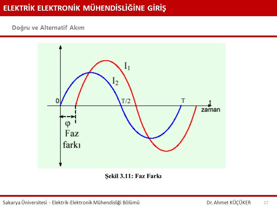 ELEKTRİK ELEKTRONİK MÜHENDİSLİĞİNE GİRİŞ Doğru ve Alternatif Akım Dr. Ahmet KÜÇÜKER Sakarya Üniversitesi - Elektrik-Elektronik Mühendisliği Bölümü 17