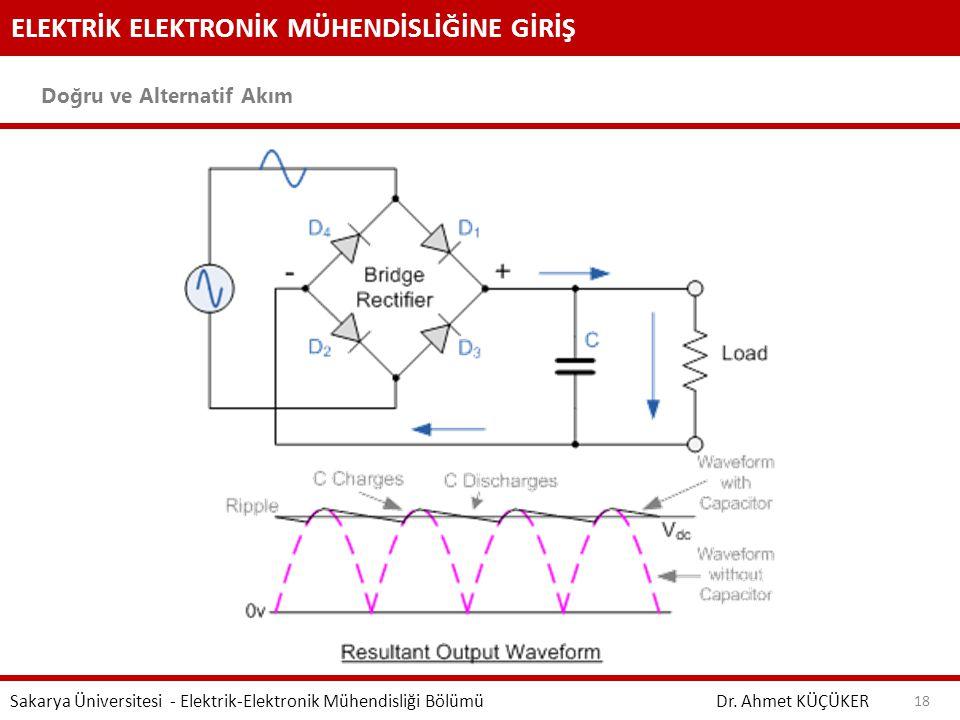 ELEKTRİK ELEKTRONİK MÜHENDİSLİĞİNE GİRİŞ Doğru ve Alternatif Akım Dr. Ahmet KÜÇÜKER Sakarya Üniversitesi - Elektrik-Elektronik Mühendisliği Bölümü 18