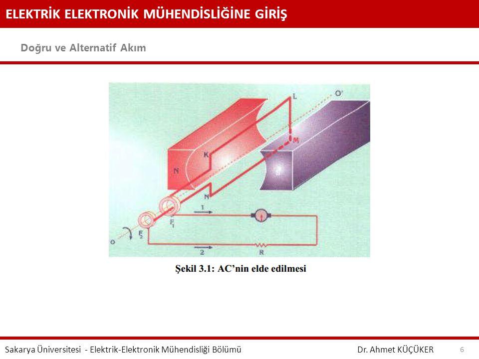 ELEKTRİK ELEKTRONİK MÜHENDİSLİĞİNE GİRİŞ Doğru ve Alternatif Akım Dr. Ahmet KÜÇÜKER Sakarya Üniversitesi - Elektrik-Elektronik Mühendisliği Bölümü 6