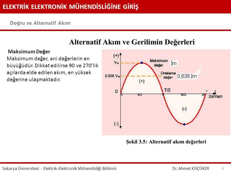 ELEKTRİK ELEKTRONİK MÜHENDİSLİĞİNE GİRİŞ Doğru ve Alternatif Akım Dr. Ahmet KÜÇÜKER Sakarya Üniversitesi - Elektrik-Elektronik Mühendisliği Bölümü 9 M