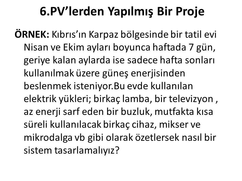 6.PV'lerden Yapılmış Bir Proje ÖRNEK: Kıbrıs'ın Karpaz bölgesinde bir tatil evi Nisan ve Ekim ayları boyunca haftada 7 gün, geriye kalan aylarda ise s