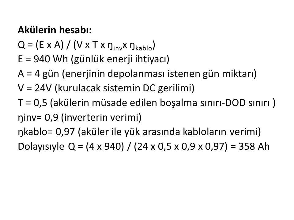 Akülerin hesabı: Q = (E x A) / (V x T x ŋ inv x ŋ kablo ) E = 940 Wh (günlük enerji ihtiyacı) A = 4 gün (enerjinin depolanması istenen gün miktarı) V = 24V (kurulacak sistemin DC gerilimi) T = 0,5 (akülerin müsade edilen boşalma sınırı-DOD sınırı ) ŋinv= 0,9 (inverterin verimi) ŋkablo= 0,97 (aküler ile yük arasında kabloların verimi) Dolayısıyle Q = (4 x 940) / (24 x 0,5 x 0,9 x 0,97) = 358 Ah