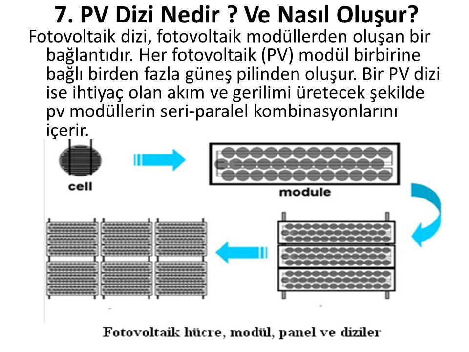7. PV Dizi Nedir ? Ve Nasıl Oluşur? Fotovoltaik dizi, fotovoltaik modüllerden oluşan bir bağlantıdır. Her fotovoltaik (PV) modül birbirine bağlı birde